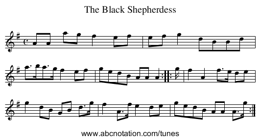 Black Shepherdess, The - staff notation