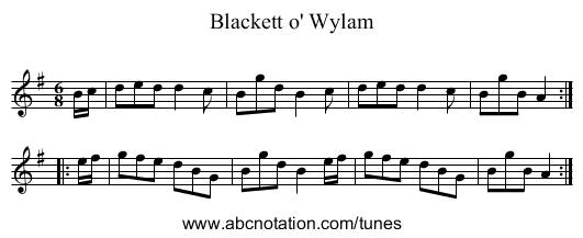 Blackett o' Wylam - staff notation