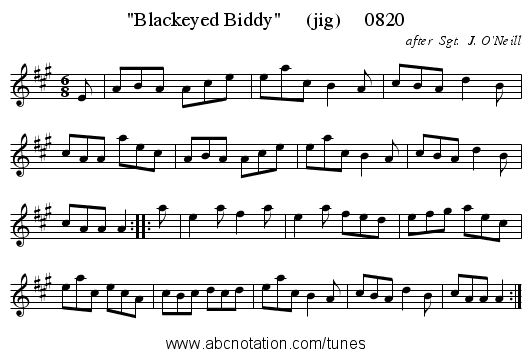 Blackeyed Biddy     (jig)     0820 - staff notation