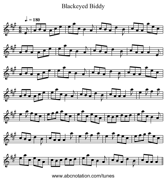 Blackeyed Biddy - staff notation