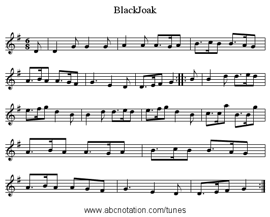 BlackJoak - staff notation