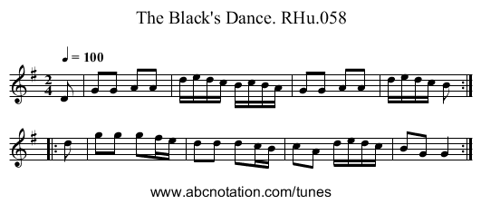 Black's Dance,The. RHu.058 - staff notation