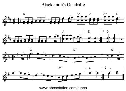 Blacksmith's Quadrille - staff notation
