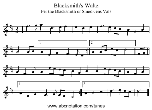 Blacksmith's Waltz - staff notation