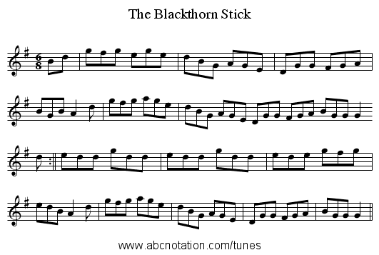 Blackthorn Stick, The - staff notation