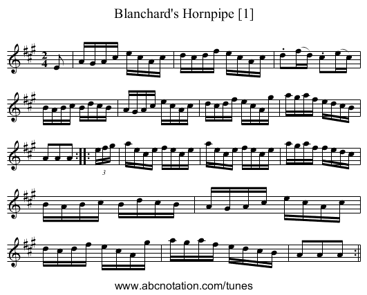 Blanchard's Hornpipe [1] - staff notation