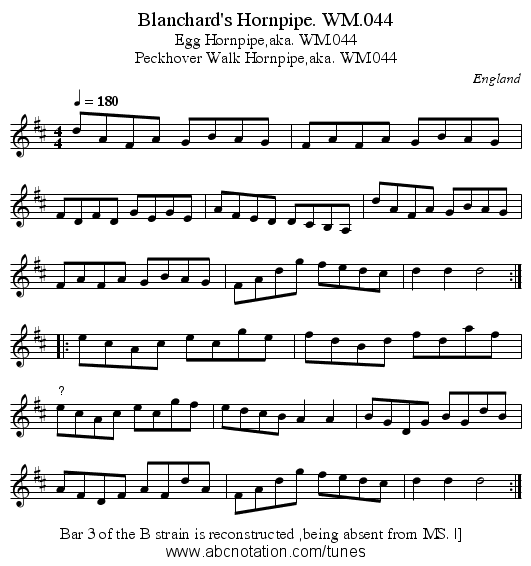 Blanchard's Hornpipe. WM.044 - staff notation