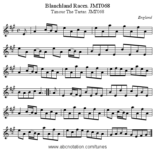 Blanchland Races. JMT068 - staff notation