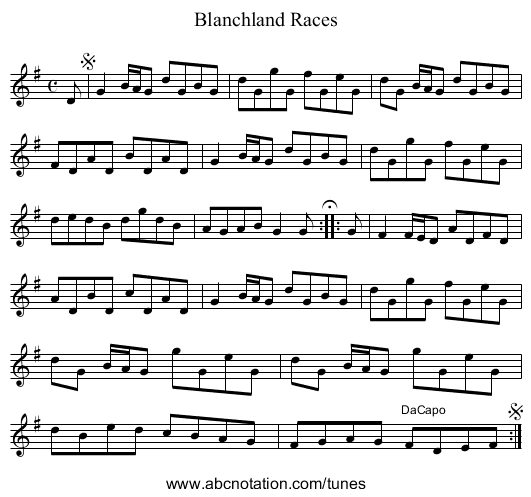 Blanchland Races - staff notation