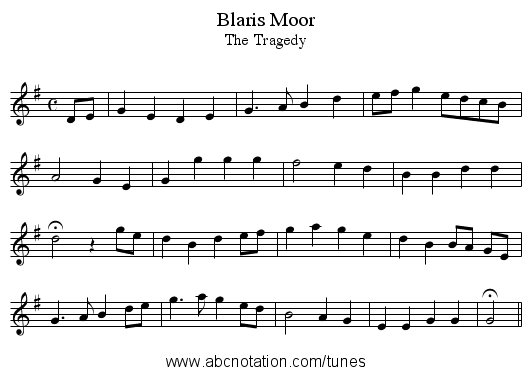 Blaris Moor - staff notation