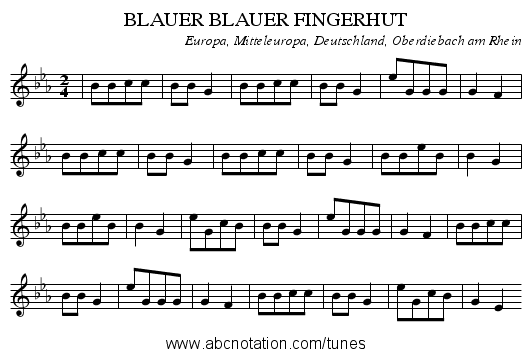 BLAUER BLAUER FINGERHUT - staff notation