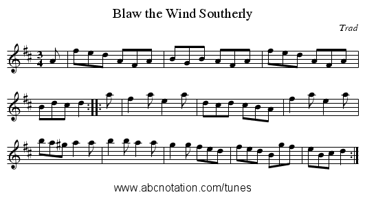 Blaw the Wind Southerly - staff notation