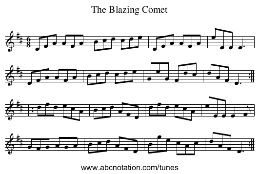 Blazing Comet, The - staff notation