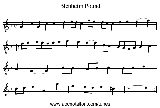 Blenheim Pound - staff notation