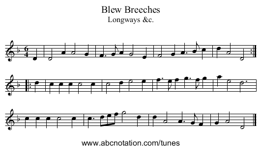 Blew Breeches - staff notation