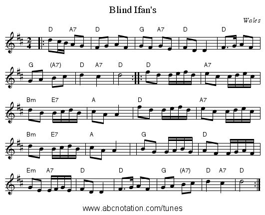 Blind Ifan's - staff notation
