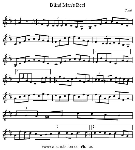 Blind Man's Reel - staff notation
