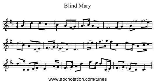 Blind Mary - staff notation