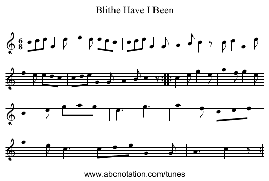 Blithe Have I Been - staff notation