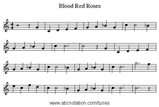 Blood Red Roses - staff notation