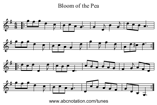 Bloom of the Pea - staff notation