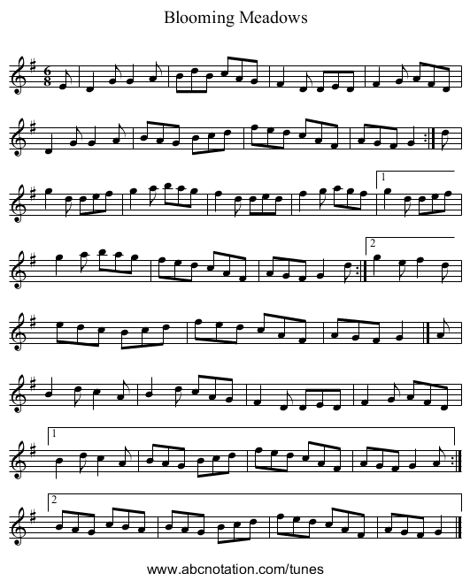 Blooming Meadows - staff notation