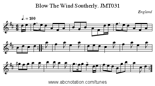 Blow The Wind Southerly. JMT031 - staff notation