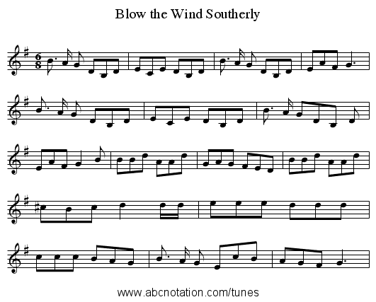 Blow the Wind Southerly - staff notation