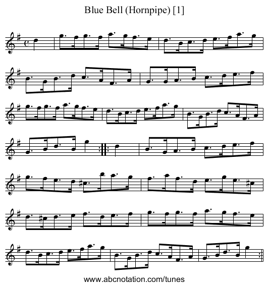 Blue Bell (Hornpipe) [1] - staff notation