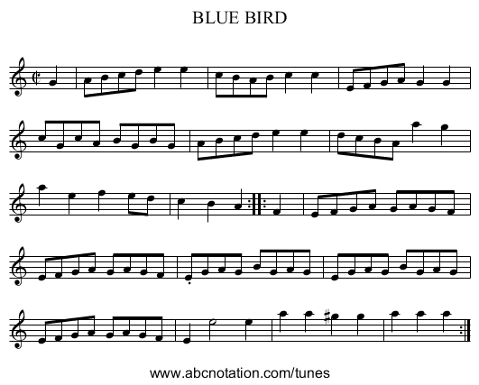 BLUE BIRD - staff notation