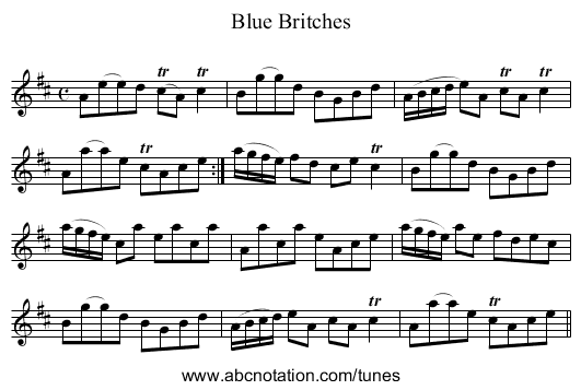 Blue Britches - staff notation