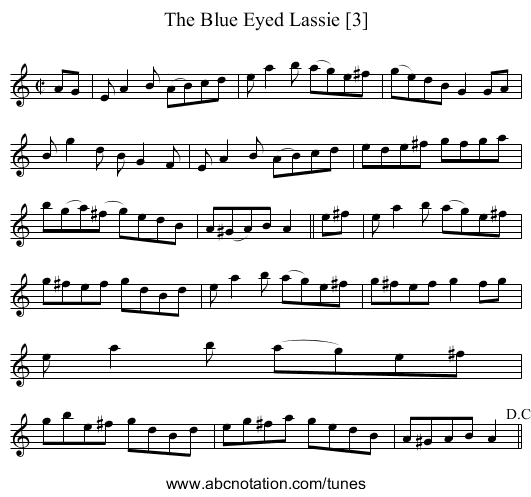 Blue Eyed Lassie [3], The - staff notation