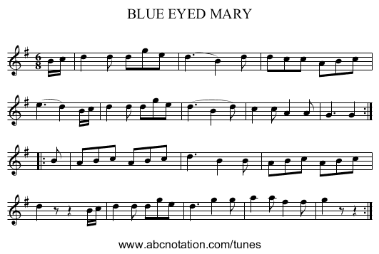 BLUE EYED MARY - staff notation