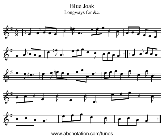 Blue Joak - staff notation
