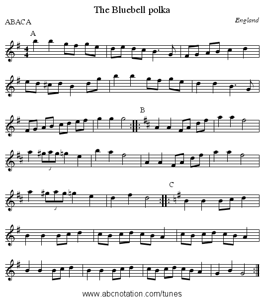 Bluebell polka, The - staff notation