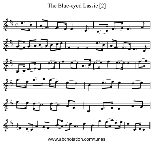 Blue-eyed Lassie [2], The - staff notation