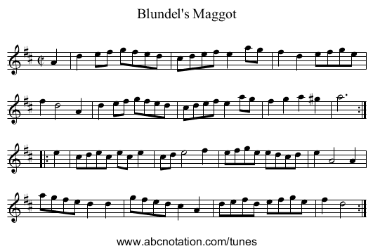 Blundel's Maggot - staff notation