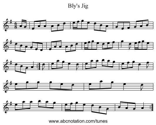Bly's Jig - staff notation