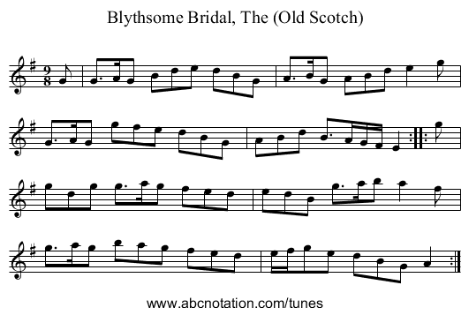 Blythsome Bridal, The (Old Scotch) - staff notation