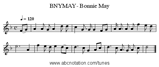 BNYMAY- Bonnie May - staff notation