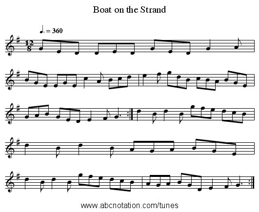 Boat on the Strand - staff notation