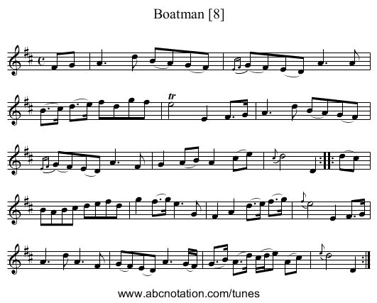 Boatman [8], The - staff notation