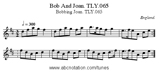 Bob And Joan. TLY.065 - staff notation