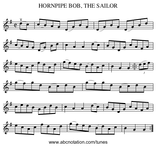 BOB, THE SAILOR, HORNPIPE - staff notation