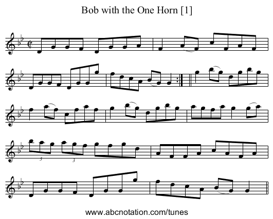 Bob with the One Horn [1] - staff notation