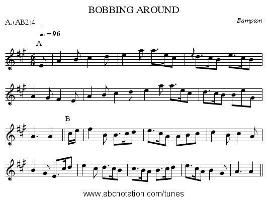BOBBING AROUND - staff notation