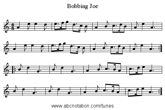 Bobbing Joe - staff notation