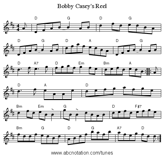Bobby Casey's Reel - staff notation