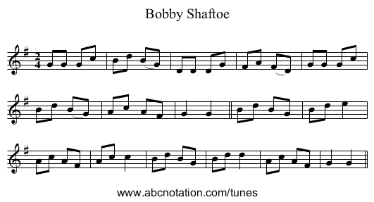 Bobby Shaftoe - staff notation