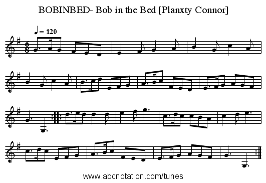 BOBINBED- Bob in the Bed [Planxty Connor] - staff notation